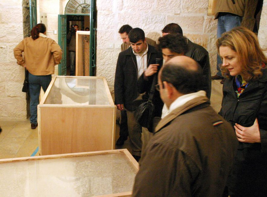 3rd Annual Wall Zone Auction, 2004, installation view. Khalil Sakakini Cultural Centre, Ramallah, Palestine